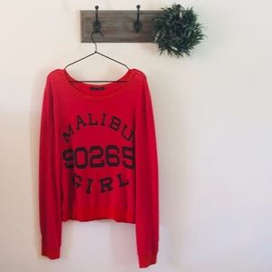 Wildfox Red Malibu Girl Sweatshirt S